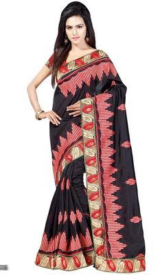 Bedazzle the crowd draped in this black and red color silk embroidered sari. The wonderful lace and resham work throughout saree is awe-inspiring. #blacksilksarees #silkprintedsaris #blackblockprintsari