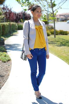 Yellow blouse + blue pants. Homecoming outfit