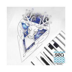 #space #geometry #watercolor #graphicart #tattoopins #tattooartist #tattoosketches  #олень #геометрия #графика #акварель #эскиз #эскизтату #космос #звезды #тату #sea