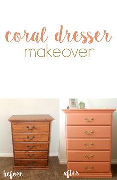DIY Coral Dresser Makeover