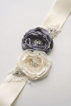 Ivory and Grey Bridal Flower Sash Wedding Floral by BelleBlooms