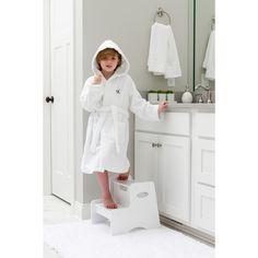 Sweet Kids Turkish Cotton Terry White with Black Script Monogram Hooded  Bathrobe 89f49831c