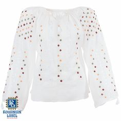 $161 A 100% hand made traditional blouse, exclusively tailored out of natural materials, such as white cotton, red, yellow, green and white silk embroidery. White Silk, White Cotton, Traditional, Natural Materials, Yellow, Long Sleeve, Red, Label, Blouses