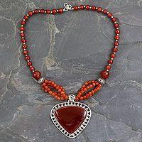 Carnelian pendant necklace, 'Autumn Blaze' by NOVICA