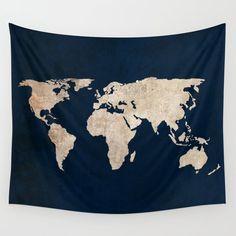 Inverted Rustic World Map Wall Hanging Tapestry by Bysamantha World Map Tapestry, Dorm Tapestry, Tapestry Bedroom, Mandala Tapestry, Dorm Design, Map Design, Sims, World Map Wall, My New Room