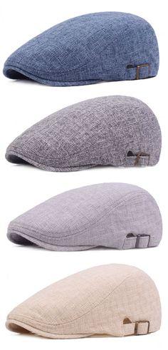 87a1ace02e029 Mens Vintage Linen Solid Color Beret Caps Casual Travel Newsboy Forward Hat  Gorras Fashion Hats