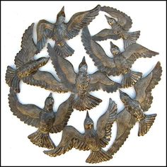 Circle of Birds in Flight - Haitian recycled steel drum metal art. See much more at www.HaitiMetalArt.com