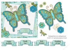 Beautiful tapestry style butterfly with flower and tiny dragonfly embellishment card topper, with decoupage elements for 3D effect.  Includes 4 greetings tags to suit any occasion.  To fit 6 x 6 cardstock when printed on A4 size.