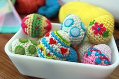 crocheted eggs with needle felting