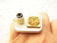Cofffee Ring   Miniature Food Jewelry Peanut by SouZouCreations, $12.50