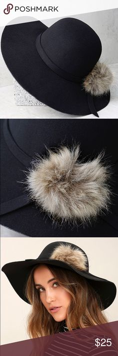 "Black Pompom Hat Leave them wondering ""who's that girl?"" when you walk past in the Enigmatic Force Black Fur Pompom Hat! This soft felted hat has a rounded top accented by a matching band with a fun fur pompom. Hat has a floppy 4"" brim. 24"" interior circumference. 100% Polyester. Imported. Lulu's Accessories Hats"