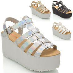 Women Chunky Sole Platform Wedges Gladiator Strappy Sandal Shoes Size #ESSEXGLAM #StrappyAnkleStraps #EveningPartyClubbingBridalPromSmartCasual
