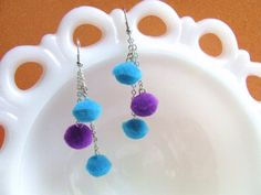 Pom Pom Earrings  Bl