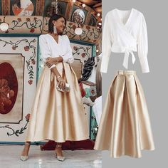 Luxurious Night Bowknot Pleated A-Line Skirt Fashion Mode, Modest Fashion, Look Fashion, Unique Fashion, Hijab Fashion, Fashion Dresses, Womens Fashion, Mode Outfits, Skirt Outfits