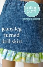Pants leg from jeans turned into skirt for doll with instructions!