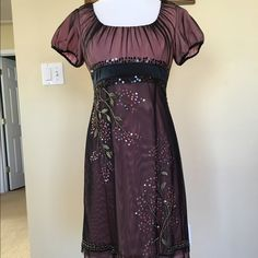 Black/flesh colored umpire waste dress Stunning umpire waist dress in sz 6P. Dress has embroidery & sequence on the sheer black top fabric. Dress is lined in a flesh color satin fabric. Skirt has 2 layers of the sheer black fabric. Worn once.  It is a very elegant dress for a wedding or a holiday party.  Length 31 inches. Empire waste is 151/4 inches. Skirt length is 24 inches Adrianna Papell Dresses Prom