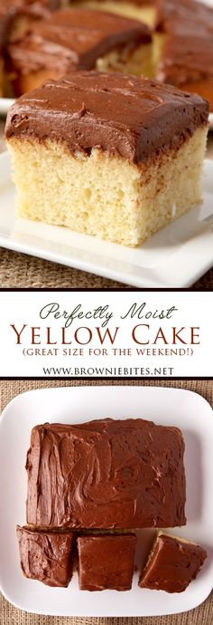 Perfect Weekend Yellow Cake This is it – my favorite yellow cake! This recipe makes an incredibly moist yellow cake that is a perfect small size inch square) for a weekend treat. Yellow Sheet Cake Recipe, Sheet Cake Recipes, Cake Recipes From Scratch, Single Layer Yellow Cake Recipe, Small Cake Recipe For Two, Basic Yellow Cake Recipe, Mini Desserts, Small Desserts, Strawberry Desserts