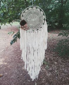 Bohochic Large Doily Dream catcher by TheWanderingFeather on Etsy Big Dream Catchers, Doily Dream Catchers, Large Dream Catcher, Dream Catcher Boho, Native American Legends, Native American Crafts, Boho Wall Hanging, Boho Wedding Decorations, Shabby Chic Christmas