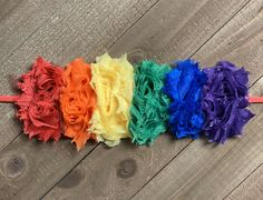 Primary Rainbow Shabby Headband, Rainbow Baby Head Band, Mini Flower Girls Hair Bow, Newborn Infant Headband, Baby Shower Gift, Birthday by AvaryMaeInspirations on Etsy