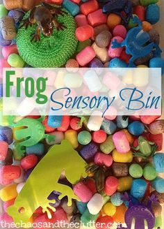 """Frog Sensory Bin with """"Stick-its""""--a cornstarch based packing material available from amazon (would cost about $50 to get enough for my classroom)"""