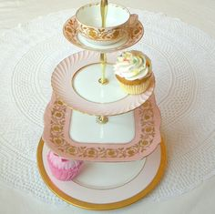 Pale pastel pink  gold large 4 tier tea party centerpiece display or Marie Antoniette wedding cupcake stand  by High Tea For Alice