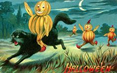 Jack O'Lantern Man Riding Black Cat Vintage Halloween Postcard
