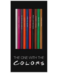 Funny colored pencils with themes in Pop Culture and entertainment. Each pack of colored pencils is hand-stamped & comes in a die-cut box. Friends Tv Show Gifts, Joey Friends, Die Cut Boxes, Hes Her Lobster, Friends Merchandise, Hanging Posters, On Repeat, Custom Packaging, Parks And Recreation