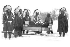 Chief Henry Plenty Coups' corpse loaded in sleigh.  Collection Little Big Horn College.  Montana State University Library.
