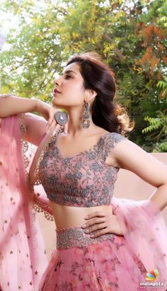 Beautiful Indian Girl Rashi Khanna In Pink Lehenga Choli Indian Gowns Dresses, Indian Fashion Dresses, Dress Indian Style, Indian Designer Outfits, Designer Dresses, Dresses Uk, Designer Bridal Lehenga, Lehenga Designs, Lehnga Dress