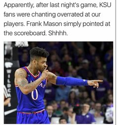 The itsy-bitsy Wildcats climbed up the basketball hoop. Down came the 'Hawks and washed the Wildcats out. But Mister Sun, being a Jayhawk himself, did not come out. The Jayhawks won and lived happily ever after. Frank Mason, Go Ku, Chiefs Football, Oklahoma State University, Football And Basketball, Kansas Jayhawks, Alma Mater, Athletic Men