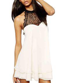 Color Block Bowknot Decoration Dress