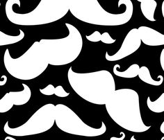 Mustaches Pattern Black and White fabric by lesrubadesigns on Spoonflower - custom fabric