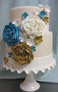 elegant two tier flower cascade wedding cake