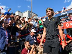 Alexander Zverev Photos - Alexander Zverev of Germany makes his way towards the court against Roger Federer of Switzerland during day ten of the Rogers Cup presented by National Bank at Uniprix Stadium on August 13, 2017 in Montreal, Quebec, Canada. - Rogers Cup Presented by National Bank - Day 10