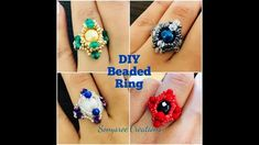 Diy Beaded Rings, Diy Rings, Ring Tutorial, Beaded Crafts, Diamond Quilt, Wire Wrapped Rings, Jar Gifts, Free Tutorials, Bead Weaving
