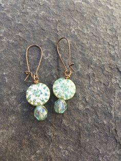Czech Glass Western Sage Green Dahlia Earrings     Boho Flower Earrings  Woodland Fairy Earrings  Cowgirl Earrings   Product id: SGD217