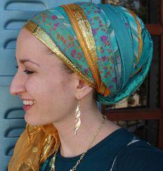 wrapunzel andrea grinberg Sari wrap tichel, aqua and gold