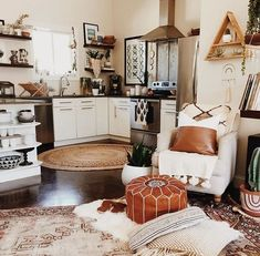bohemian living space/kitchen with warm tones