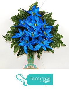 Gorgeous Blue Poinsettia Cemetery Arrangement For Mausoleum https://www.amazon.com/dp/B0764MZV3G/ref=hnd_sw_r_pi_dp_Kdb1zbRH4SPF4 #handmadeatamazon