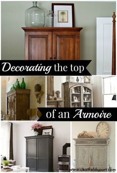 Creative and beautiful ways to decorate the top of an armoire. i like the gray painted armoire Do It Yourself Inspiration, Home Decor Inspiration, Armoire Decorating, Decorating Ideas, Decor Ideas, Decorating Websites, Estilo Cottage, Armoire Ikea, Top Of Cabinets