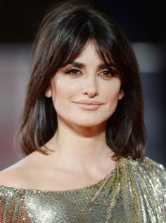 """While bangs tend to veer on the """"cute"""" side of the spectrum, Penélope Cruz proves they can be super sexy, t. Curly Hair With Bangs, Long Bangs, Curly Hair Styles, Natural Hair Styles, Box Braids Hairstyles, Penelope Cruz, Bardot Bangs, Bardot Fringe, Hair Inspo"""