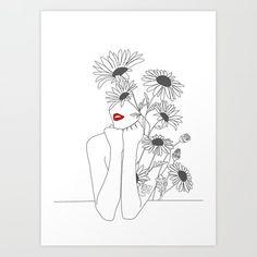 Minimal line art girl with sunflower art print by Minimal Line Art Girl with Sunflower Art Print by Art And Illustration, Sunflower Illustration, Sunflower Drawing, Sunflower Art, Sunflower Tattoo Simple, Art Sketches, Art Drawings, Tattoo Sketches, Tattoo Drawings