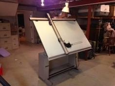 "36""x60"" Hamilton electric Dial-A-Torque drafting table with Mutoh drafting machine."