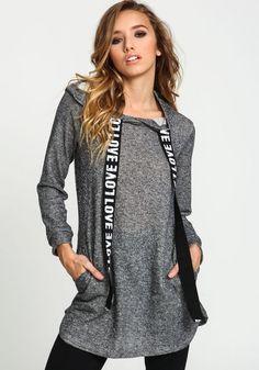 Black Marled Knit Love SweaterBlack Marled Knit Love Sweater, BLACK