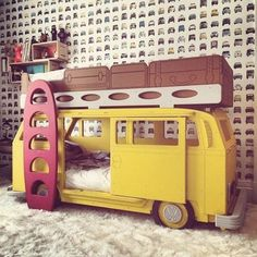I'm an only child, so I never had bunk beds of my own. Whenever I went to a friends house, and they had bunk beds, I was always so jealous. Bunk beds are the. Camper Bunk Beds, Kids Bunk Beds, Deco Kids, Bedding Inspiration, Bunk Bed Designs, Bedroom Designs, Cool Beds, Kid Spaces, Small Spaces