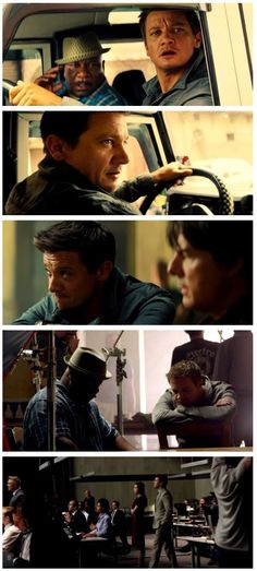 Collage of Five Photos of Jeremy in Mission Impossible - Rogue Nation