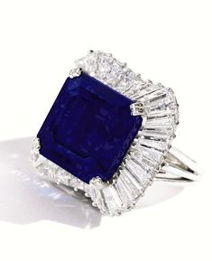 28.18 carat platinum Kashmir sapphire and diamond ring sold for $5,093,000 at Sotheby's New York on April 29, 2014 #sapphire #diamonds #Sothebys