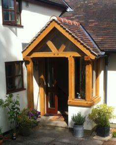 Porch Oak, Porch Overhang, Porch Kits, Enclosed Porches, Side Porch, Cottage Exterior, Gable Roof, House Entrance, Rose Cottage