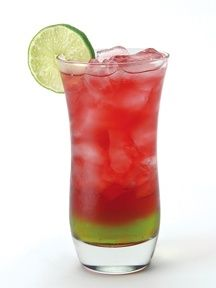 Killer Kool-aid : oz Vodka, ½ oz Amaretto, oz Midori melon liqueur , and 4 oz Cranberry juice. Pour over ice into a Collins glass and garnish with a lime. Fancy Drinks, Bar Drinks, Non Alcoholic Drinks, Cocktail Drinks, Cocktail Recipes, Beverages, Keto Cocktails, Drink Recipes, Sangria