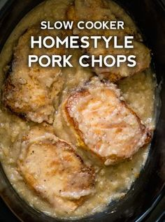 Homestyle Slow Cooker Pork Chops These homestyle pork chops have a deliciously thick gravy that goes perfectly with the meat, so all you have to do is throw together some potatoes or veggies and you've got a full meal. Crockpot Dishes, Pork Dishes, Porkchop Recipes Crockpot, Recipes Using Pork Chops, Crockpot Meals Easy, Pork Loin Recipes Slow Cooker, Potatoes Crockpot, Crockpot Meat, Pork Meals